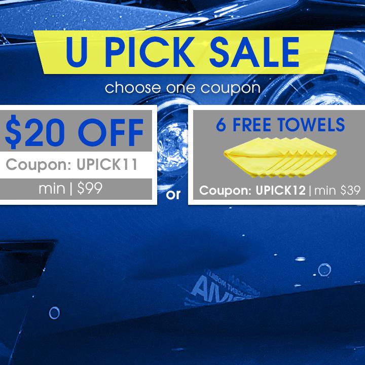 U Pick Sale - choose one coupon - $20 Off Coupon UPICK11 Min $99 or 6 Free Towels Coupon UPICK12 Min $39