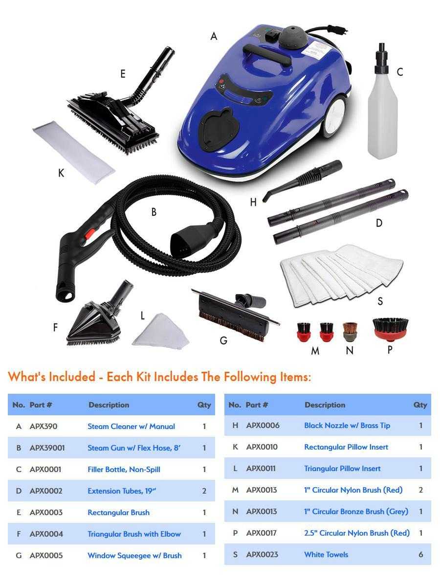 Apex Steam Apx390 Portable Steam Cleaner Kit Free