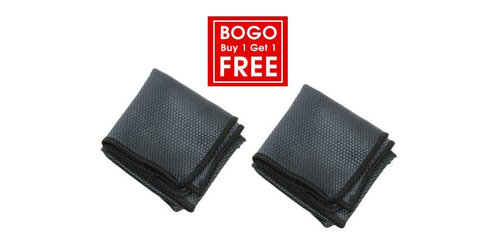 The Rag Company Buy 1 Get 1 Free Diamond Glass Towel Black