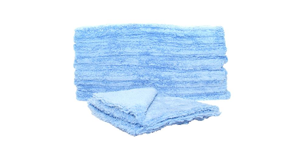 "DI Microfiber Double Thick Edgeless Towel 16"" x 16"" Blue BULK 24x"