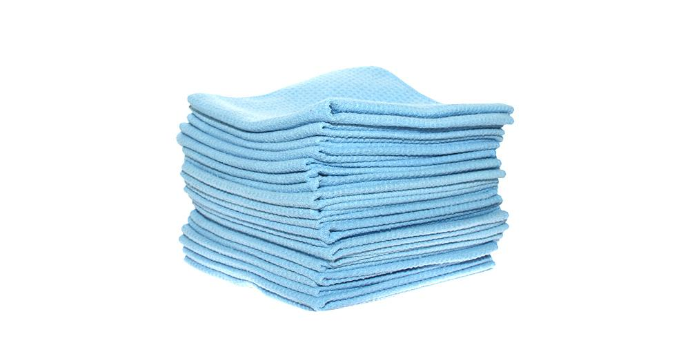 DI Microfiber Waffle Weave Glass Cleaning Towel Light Blue BULK 25x